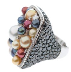 #20/Contemporary Pearl, Black and White Diamond Cocktail Ring