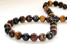 Tiger Eye Faceted Round Beads TigerEye Genuine by BijiBijoux