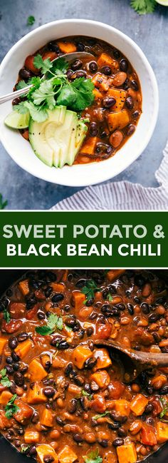 This sweet potato black bean chili is packed with texture flavor! sweet potatoes beans a killer seasoning mix come together for this easy dinner sweetpotato healthy vegetarian vegan healthy easy recipe crispy black bean tacos with avocado lime sauce Chili Recipes, Soup Recipes, Cooking Recipes, Keto Recipes, Chicken Recipes, Recipies, Whole Foods, Whole Food Recipes, No Bean Chili