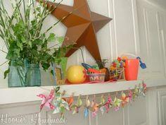 Pinwheel and clothespin garland! Cute!