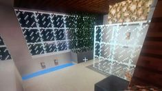 Bathroom with glass shower Glass Shower, Minecraft, Photo Wall, Bathroom, Building, Frame, Home Decor, Washroom, Picture Frame