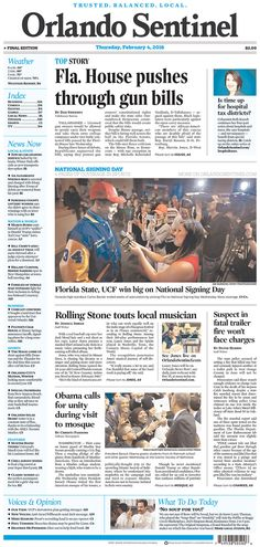 #20160204 #USA #FLORIDA #ORLANDO #OrlandoSentinel Thursday FEB 4 2016 http://www.newseum.org/todaysfrontpages/?tfp_show=80&tfp_page=2&tfp_id=FL_OS