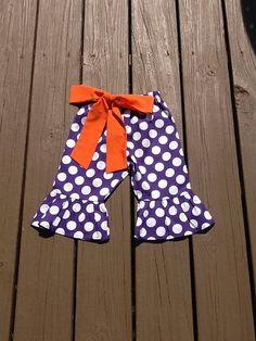 Girls Halloween Ruffle Pants Capris or knee by EverythingSorella, $28.50