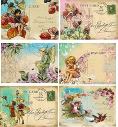 Vintage Iinspired Fairy Stationery Card Set 6 ATC Altered Art with Organza Bag | eBay