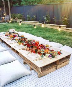 Garden Party Ideas, The Best Summer Party Gartenparty-Ideen, die beste Sommerparty – Backyard Picnic, Backyard Ideas, Wedding Backyard, Backyard Landscaping, Garden Picnic, Landscaping Ideas, Garden Wedding, Wedding Dinner, Picnic Table Wedding