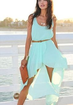 Sleeveless Casual Dress, Asymmetrical Hem
