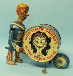 Antique Marx Mortimer Snerd Home Town Band Tin Wind Up Drummer Toy Antique Toys, Vintage Antiques, Antique Metal, Retro Toys, Vintage Toys, Tin Toys, Classic Toys, Toy Boxes, Vintage Halloween