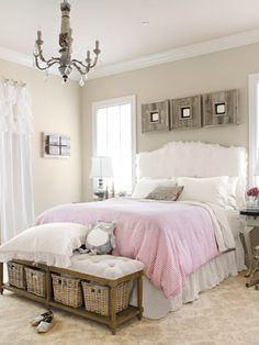 Amy Mueller personalized her daughter's bedroom by slipcovering the headboard and making the duvet cover herself. #personalstyle #decorating