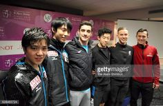 Participants of Senior Men's Singles Shoma Uno Yuzuru Hanyu of Japan Javier Fernandez of Spain Nathan Chen and Adam Rippon of the United States and...