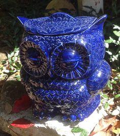 Ceramic owl planter treat jar utensil holder cobalt by muddyme