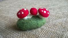 Wool Felt Toadstools on a Felt Stone, Felt Mushrooms, Toadstool Decor Rustic Home Mantel Decor, Felt Miniature Mushroom, Mini Fairy Mushroom