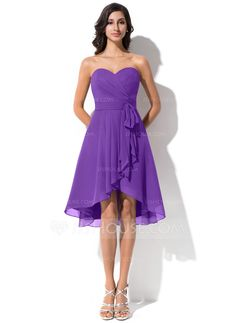 A-Line/Princess Sweetheart Asymmetrical Chiffon Bridesmaid Dress With Bow(s) Cascading Ruffles (007062999)