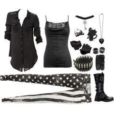 """""""On Stage With Black Veil Brides"""" by molly-massacre on Polyvore This is cool but I think a plain black vest instead"""