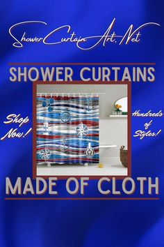 Our luxurious high quality fabric shower curtains are all made with 100% premium grade soft polyester cloth. This allows the curtain to drape gracefully while also providing quick drying technology which easily evaporates any unwanted moisture. Fancy Shower Curtains, Nautical Shower Curtains, Shower Curtain Art, Bathroom Shower Curtains, Bathroom Fixtures, Man Cave Bathroom, Downstairs Bathroom, Bath Screens, Shower Accessories