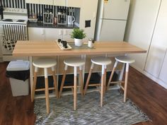 Ikea hack kitchen island 2x cube bookshelves $80.00 Ikea light wood effect bench top $60.00 4x grey baskets kmart $32.00 cupboard inserts $15 each x 4 . Rug from ikea $39 bar stools kmart $25.00 x 4. . Has totally changed my kitchen . Easy rental makeovers from boring to black and white heaven