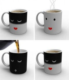 Smiling temperature changing mug