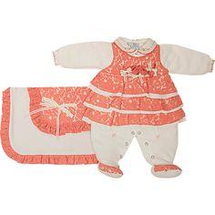 Saída de Maternidade Renda para Menina Nina Coral - Beth Bebê :: 764 Kids | Roupa bebê e infantil