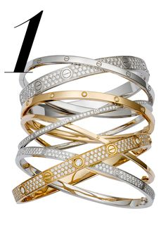 This inimitable 18K pink and white gold bracelet set is a single heirloom of no less than 594 diamonds - Cartier LOVE Bracelet,