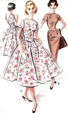 1950s Beautiful Dress Pattern Slim or Full Skirt Dress Bateau Neckline, V Back Day or Party Evening McCalls 4123 Vintage Sewing Pattern Bust...