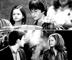 This one picture illustrates just how epic the Harry Potter series of movies are. The producers took a huge chance on a group of really young children and the fact that JK would complete all seven books AND that all the books would be worth turning into movies. But their gamble paid off and we got to watch those children grow into amazing adults in that 10 year span that it took to make the films.