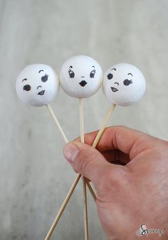 Vintage spun cotton doll heads on sticks - DIY. Visit www.spunnys.com for a simple tutorial.