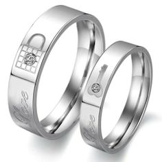 Stainless Steel Couple Rings Wedding Bands Love Lock Finger Shine Crystal 313 OPK. $6.90. Fashion Rings. Lover Rings. Couple Rings