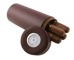 Visol Lure Brown Leather Travel Cigar Case with Hygrometer