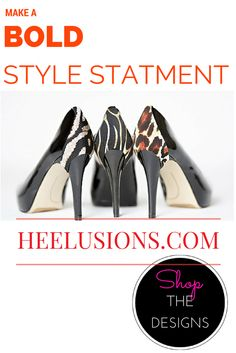 Make a BOLD statement with a unique fashion accessory ~  Shop THE DESIGNS www.heelusions.com      Add style TO ANY HEELS   Create MULTIPLE LOOKS to maximize your wardrobe