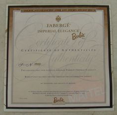 Faberge Imperial Elegance 1997 Barbie Doll Limited Edition 074299198168 | eBay