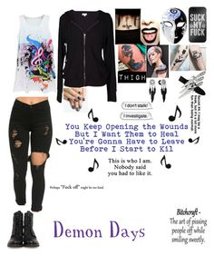 """Demon Days"" by sorrowevermore on Polyvore featuring Frye, Velvet by Graham & Spencer and alfa.K"