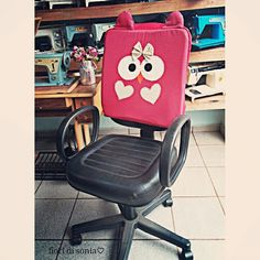 ♡...almofada corujinha para cadeira de escritório♡