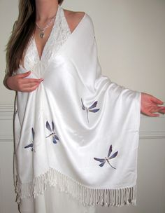 Upscale Dragonfly Hand Painted Pashmina Sale. Customize at no extra cost takes 2 days to make for you. Beautiful evening hsawls original masterpieces on sale.