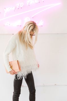 winter white + feathers
