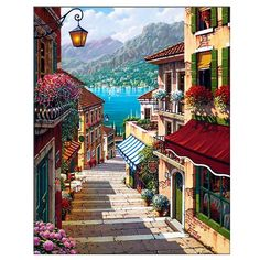 Frame Coffee Town Landscape Painting By Numbers Wall Art Diy Oil Painting Home Decor For Room Decoration Simple Oil Painting, Oil Painting On Canvas, Diy Painting, Acrylic Canvas, Painting Abstract, Painting Clouds, Italy Painting, China Painting, Painting Lessons