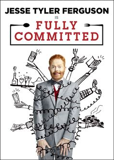 Broadway show poster for Fully Commited with Jesse Tyler Ferguson, illustration by Serge Bloch, for the Lyceum Theatre, NYC. Broadway Show Tickets, Broadway News, Broadway Plays, Broadway Theatre, Serge Bloch, Get Tickets, New Shows, Comedy, Nyc