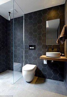 black hex bathroom tiles