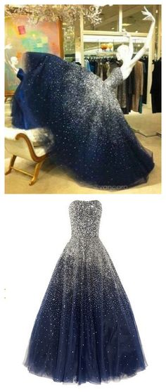 A-Line Beading Charming Prom Dress,Tulle Formal Dresses,Evening Dresses