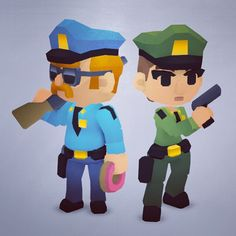 Quick render of the Law Enforcement team for the Smashy Craft series #lowpoly #gamedev #3DModels