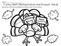 math worksheet : 1000 images about thanksgiving on pinterest  multiplication and  : Thanksgiving Division Worksheets