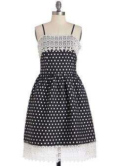 Moonlit Serenade Dress - White, Polka Dots, Party, A-line, Spaghetti Straps, Better, Crochet, Woven, Long, Lace, Pockets, Black