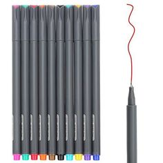 Huhuhero Fineliner Color Pen Set, 0.38 mm Fine Line Drawi...