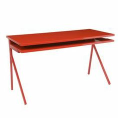 "Add a modern touch to your home office or living room with this sleek writing desk, showcasing a glossy red finish and extendable keyboard tray.   Product: Writing deskConstruction Material: WoodColor: RedFeatures: Extendable keyboard trayDimensions: 31.5"" H x 56"" W x 24.5"" D"