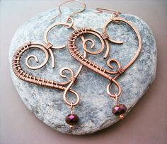 Wire Wrapped Heart Earrings Copper and Violet Quartzite - Copper Jewelry - wire wrapped Earrings handmade
