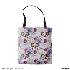 Lady Flor tote bag. A sugar skull inspired floral skull pattern. Flor translates to flower in Spanish.