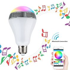 HeQiao Bluetooth Smart LED Light Bulb Speaker  Smartphone Controlled Dimmable Multicolored Color Changing Lights for iPhone iPad Android Phone and TabletWhite