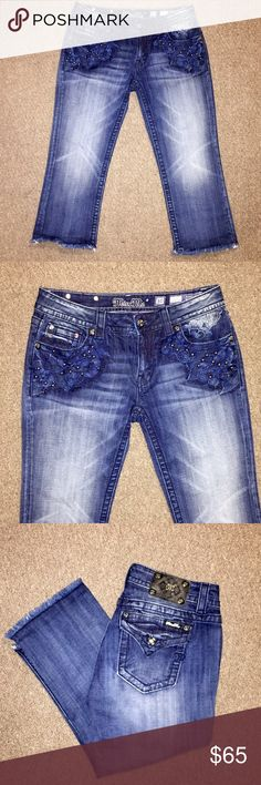 NWT ❤️ Miss Me Signature Cuffed Capri New with tags!  Miss Me Signature Cuffed Capri Jeans in a Women's size 30 with an inseam of 22. These are gorgeous!!  Full of detail and sparkles. Beautiful dark wash denim with factory whispering, which is very flattering on any body!! Perfect for the summer & you have all summer long to wear them Miss Me Jeans Ankle & Cropped