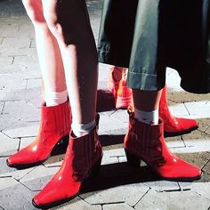 Tässä se on. Ensi syksyn kuumin trendi. Red shoes @ganni #cphfw @tarutm  via ELLE FINLAND MAGAZINE OFFICIAL INSTAGRAM - Fashion Campaigns  Haute Couture  Advertising  Editorial Photography  Magazine Cover Designs  Supermodels  Runway Models