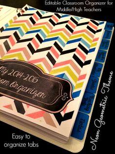 Editable classroom organizer for middle/high school teachers-- neon geometric theme! :) Get organized now! $