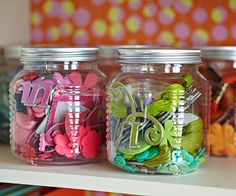 Organize your craft supplies: use jars to store buttons, pieces of ribbon, and other small embellishments.
