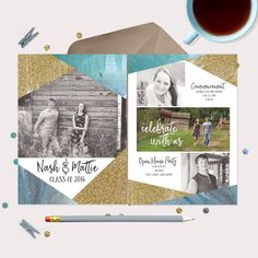 Twins Graduation Announcement or Invitation - blue & gold geometric cards - include 4 photos and all your detail Gold glitter & blue watercolor by gwenmariedesigns